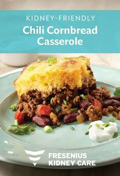 Chili Cornbread Casserole combines your comfort food favorites This hearty kidney-friendly recipe is sure to be a crowd pleaser Try this tasty entr e for dinner tonight Renal diet recipes Renal Diet Dinner Recipes Kidney Friendly Dinner Recipes # Davita Recipes, Kidney Recipes, Kidney Foods, Kidney Health, Diet Dinner Recipes, Baby Food Recipes, Diet Recipes, Diabetes Recipes, Low Potassium Recipes