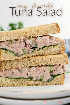 My favorite Tuna Salad recipe! Easy and delicious! Grilled Burger Recipes, Gourmet Burgers, Tuna Recipes, Seafood Recipes, Dinner Recipes, Sandwich Recipes, Yummy Recipes, Tuna Salad, Egg Salad