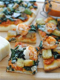 Trapanese Pesto Pizza with Shrimp and Kale - a lighter, healthier twist on pizza with a unique tomato based pesto