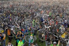 San Francisco tradition called Critical Massin which cyclists take over the street!