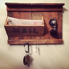 Rustic Entryway Organizer - Mail / Keys / Sunglasses holder made from reclaimed wood