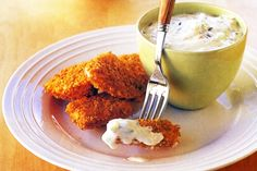 Chicken Dippers by Taste. Dip these crunchy chicken dippers into the creamy yoghurt sauce for the perfect anytime snack. Chicken Dippers, Chicken Pork Recipe, Butter Chicken, Chicken Recipes, Chicken Bites, Dipping Sauces For Chicken, Kids Meals, Easy Meals, Chicken Breast Fillet