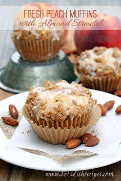 Fresh Peach Muffins with Almond Streusel on MyRecipeMagic.com