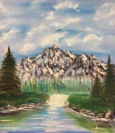 Aceite paisaje montañas y cielo pintura pintura al óleo