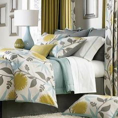 gray, sky blue, goldenrod and white bedroom idea... by joni