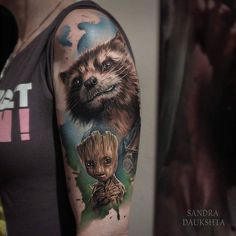 Guardians of the Galaxy tattoo by @sandradaukshtatattoo who is currently traveling throughout Europe. Visit her page for details. #sandradaukshtatattoo #sandradaukshta #guardiansofthegalaxy #root #rocketraccoon #guardiansofthegalaxytattoo #roottattoo #rocketraccoontattoo #marvel #marveltattoo #marvelcomics #marvelcomicstattoo #tattoo #tattoos #tattoosnob