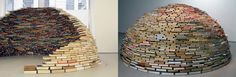 A self-sustained book igloo designed by Colombian artist Miler Lagos