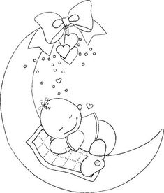 baby (This site has many designs that would be good for embroidery, particularly for children. Baby Embroidery, Hand Embroidery Patterns, Applique Patterns, Embroidery Stitches, Embroidery Designs, Colouring Pages, Coloring Books, Motifs D'appliques, Copics