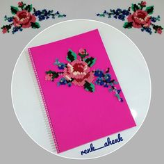 Perler bead rose ornament on a notebook by renk__ahenk