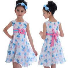 Little Hand Girls Party Dresses Kids Summer Clothes Chiffon Bowknot Dress 3-8Y : For Kids