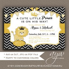 Lion Baby Shower Invitation Lion Prince by AsYouWishCreations4u