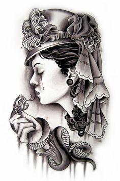 neo traditional tattoo  -Minus the snake, I love this tattoo