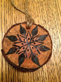 Rustic snowflake wood burned Christmas ornament - natural wood