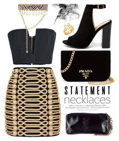 """#statementnecklaces"" by miee0105 ❤ liked on Polyvore featuring Balmain, Bamboo, Shourouk, BaubleBar, H&M, Prada, Yves Saint Laurent and statementnecklaces"