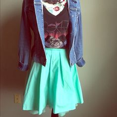 Final Price! Fun & Flirty Skirt, T-Shirt Included! Such a fun skirt to wear with a petty coat lining and the t-shirt shown is included for free. The denim jacket can be purchased separately in my closet as well as the necklace! Remain Skirts Circle & Skater