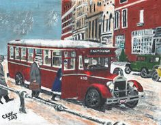 """Take the bus and leave the driving to us"". This was not a Greyhound, but the saying could also apply to the local bus line. This was from a time when folks were less likely to own an automobile and more likely to rely on mass transit for their daily trips. Find us on Facebook at https://www.facebook.com/pages/Walkabout-Art/502553026431174"