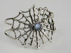 An Impressive Sterling Silver Spider Web Bracelet Accented with Genuine Grey Moonstone Unique Bracelets, Jewelry Bracelets, Jewelry Shop, Jewelry Design, Save Mother Earth, Dragon Bracelet, White Moonstone, Aleta, Silver Dragon
