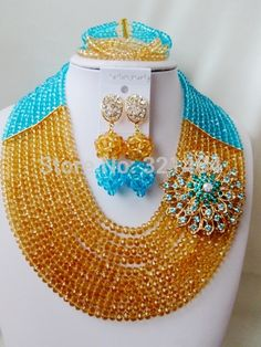 Find More Jewelry Sets Information about Marvelous! Turquoise Blue Champagne Gold Flower Brooches Crystal Nigerian Wedding African Beads Jewelry Set VC382,High Quality Jewelry Sets from P&W_Jewelry Accessories Co.,Ltd. on Aliexpress.com