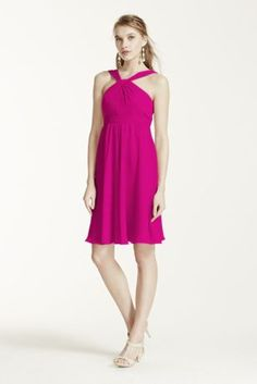 Classic silhouette with a modern twist, this bridesmaid dressis ultimatelyflattering for any affair!  Sleeveless crinkle chiffon bodice features ultra-feminine y-neckline.  Pleated waist band helps define the silhouette.  Fully lined. Back zip. Imported polyester. Dry clean.  To protect your dress, try our Non Woven Garment Bag.