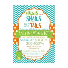 Set of 12 Customizable Personalized Baby Shower Invitations and Envelopes with Frogs and Snails NV022 -- Find out more about the great product at the image link.