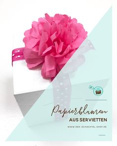DIY Idee-Papierblumen aus Servietten Diy Furniture, Diy And Crafts, Decorative Boxes, Projects To Try, Happy Birthday, Gift Wrapping, Place Card Holders, Bows, Creative