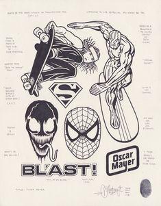 Oscar Mayer by Mike Giant, Tattoo Flash Art, Tatoo Art, Tattoo Outline Drawing, Buho Tattoo, Dessin Old School, Mike Giant, Sharpie Tattoos, Flash Design, Dark Tattoo