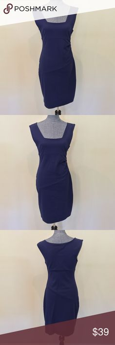 Express day-to-night dress Very flattering Navy Blue Express dress. Slightly ruched on the side to flatter the midsection. Stretch material. Only worn once, in great condition! Express Dresses Midi