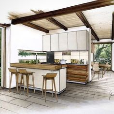 Kitchen design sketch home design sketch plans winning plans Learn Interior Design, Interior Design Renderings, Drawing Interior, Interior Rendering, Interior Sketch, Home Interior, Kitchen Interior, Interior Architecture, Design Kitchen