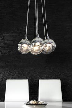 Design Hängelampe GALANTE mit 7 Glaskugeln chrom Pendelleuchte  bei Riess Ambiente