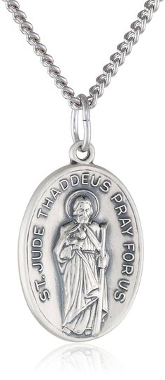 Sterling Silver Oval Saint Jude Medal with Antique Finish and Stainless Steel Chain, 20' ** Tried it! Love it! Click the image. : Jewelry