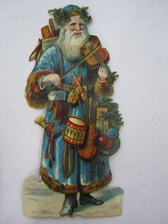 Vintage Santa Claus Die Cut Scrap - Blue Robe Playing Violin