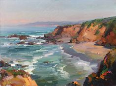 Ovanes Berberian Waterhouse Gallery Artist Landscape and Still Lfe Artist bold use os color Waterhouse Gallery Santa Barbara California Beach Landscape, Watercolor Landscape, Landscape Tattoo, Landscape Artwork, Abstract Landscape Painting, Green Landscape, Landscape Pictures, Seascape Paintings, Watercolor Paintings