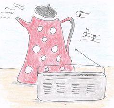 """Śniadanie w letnie poranki na wsi: kawa zbożowa z emaliowanego imbryka i chleb z miodem, który ściekał po palcach, do wtóru melodii płynących z wysłużonego, poskrzypującego radia. Fragment """"Szklanki z koszyczkiem"""": """"Inka wyskoczyła z łóżka. Mała Mama, przeciągając się, poczłapała za nią. Okazało się, że skoczna melodyjka płynęła z radia poskrzypującego na stole kuchennym. A z palnika, na którym turkotał biały imbryk w czerwone kropki, płynęła smużka dymu o zapachu kawy."""""""