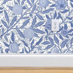 William Morris Wallpaper, Morris Wallpapers, Blue Wallpapers, Perfect Wallpaper, Design 24, Wall Patterns, Custom Wallpaper, Peel And Stick Wallpaper, Textured Walls
