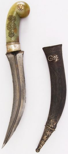 Indian jambiya, 18th century, wootz steel blade, silver, jade, diamond, gold, leather, H. with sheath 13 7/8 in. (35.2 cm); H. without sheath 12 3/4 in. (32.4 cm); L. of blade 8 1/2 in. (21.6 cm); W. 2 5/8 in. (6.7 cm); Wt. 10.8 oz. (306.2 g); Wt. of sheath 2 oz. (56.7 g), Met Museum, Bequest of George C. Stone, 1935.