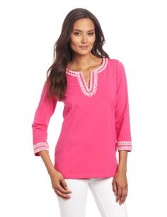 Jones New York Women`s 3/4 Sleeve Split Neck Pink Tunic with Embroidery $35.40 (40% OFF)