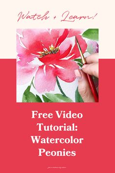 Free video of an easy peonies watercolor painting tutorial. In this tutorial I teach you how to paint a pretty peony bouquet! This is the exact painting that I used as part of my collection with Casetify for all the tech goodies Watercolor Flowers Tutorial, Step By Step Watercolor, Easy Watercolor, Watercolour Tutorials, Watercolor Design, Watercolor Techniques, Painting Tutorials, Flower Tutorial, Watercolor Paintings