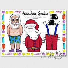 Joulukortti - paperinukke - joulupukki