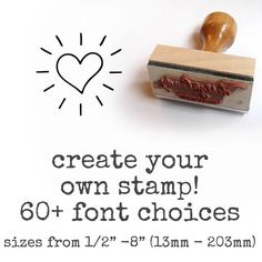 Create your own custom stamp. Address stamps, Save the Date stamps, Stamps for your store etc. $10.00, via Etsy.