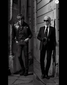 Hedi Slimane et Karl Lagerfeld, face à face dans le nouveau numéro (V99, printemps 2016) du magazine V.