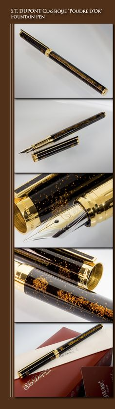"S.T. DUPONT Classique ""Poudre d'Or"" Fountain Pen (Chinese lacquered with gold dust metal body, gold-plated trim, 18kt gold nib) - 2000s / France"