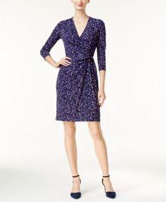 Anne Klein Mosaic-Print Faux-Wrap Dress   macys.com