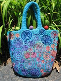Blue Moon River: Needle-felted bag