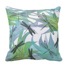 Elegant decorator accent throw pillow done in lovely lavender, blue, aqua, green, and white. Beautiful abstract graphics of dragonflies in foliage decorate this chic pillow. Customize to add text to personalize for yourself or as a lovely gift idea.