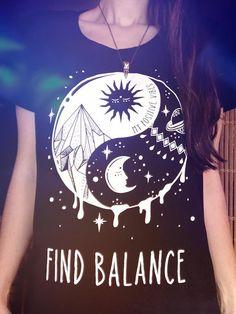 Yoga shirt - Yin Yang - Soft Grunge tshirt, Pastel goth shirt, Aesthetics shirt, Tumblr t shirt, Sun Moon and Stars, Good Vibes