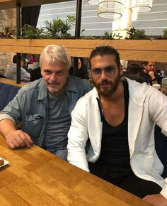 Can and his dad Turkish Men, Turkish Actors, Blonde Bob Cuts, Curly Blonde, Short Curly Styles, Christian Grey, Male Beauty, Istanbul, Handsome