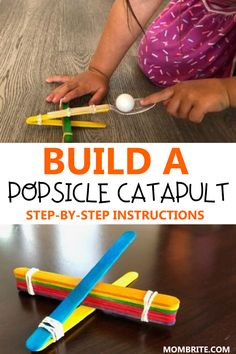 Do you have popsicle sticks around the house that you don't know what to do with? Check out this fun popsicle stick catapult STEM project that you can do with your kids! Popsicle Stick Catapult, Craft With Popsicle Sticks, Diy Projects With Popsicle Sticks, Catapult Diy, Craft Sticks, Pop Sicle, Craft Stick Crafts, Kids Crafts, Easy Crafts