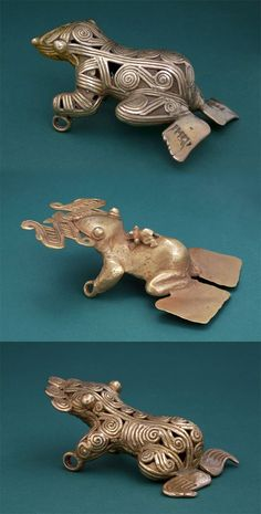 Panama | Three Coclé Frog pendants; cast gold | ca. 300 to 1550 AD