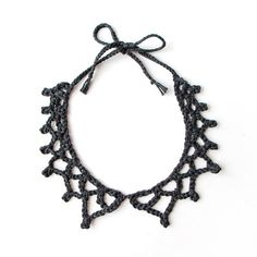 Crochet Necklace Collar Charcoal Grey