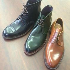 http://chicerman.com  carminashoemaker:  Some styles in Oscar and Detroit last .Carmina #shoes #Stylish #handmade #Cordovan #Horween #Navy #Green #Saddle #Mallorca  #menshoes